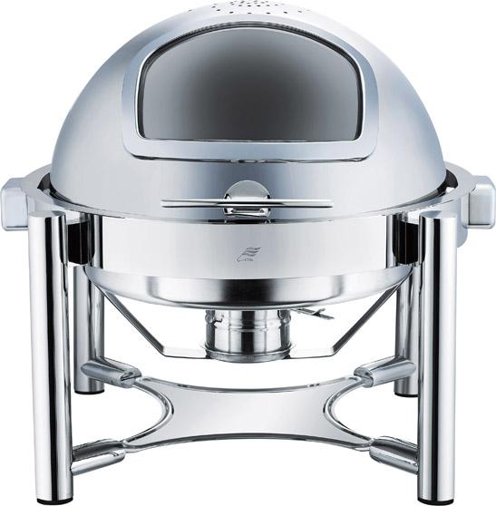 全翻盖全钢圆形可视自助餐炉
